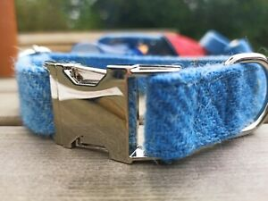 Light blue check Harris Tweed dog collar lead  Clip/side release buckle FREE P&P