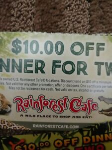 Rain Forest Cafe $10 Off Dinner For Two Coupon qty one coupon
