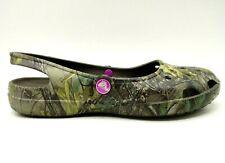 Crocs Logo Camouflage Slip On Casual Slingback Flats Sandals Shoes Women's 8