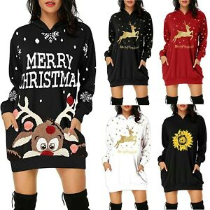 Women Long Sleeve Christmas Print Pocket Dress Ladies Hooded Jumper Mini Dress