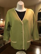 WOOL ItalIan GREEN SWEATER BUTTON Cardigan Vtg Carol Brent Womens Size 8  #185