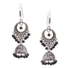 Traditional Silver Plated Oxidized jhumka Jhumki Black Second Design Earrings #B