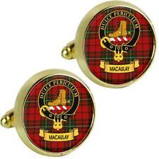 Mens Cufflinks MacAulay Scottish Clan Crest Brass Finish Presentation Boxed