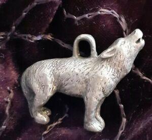 Wolf Pewter Statue Figure Charm sculpture Keychain decor metalwork art figurine