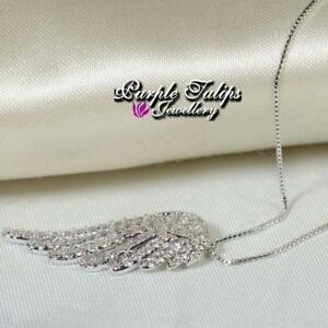 18CT White Gold Plated Angel Wing Necklace Made With Swarovski Crystal