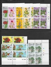 GAMBIA 1977 MNH REPRINTS IN 9 BLOCKS OF 4 FLOWERS CLERODENDRUM SPLENDENS