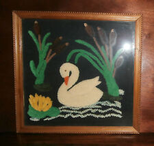 """Swan Cattails Chenille Embroidery Finished & Framed 19"""" sq Punch Needle"""