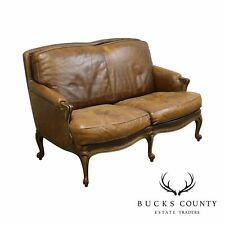 French Louis Xv Style Distressed Brown Leather Seat Love Seat Settee