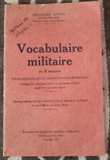 Vocabulaire Militaire en 5 langues ✤ Lieutenant Durand ✤ 1931