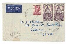 1954 Kainantu Papua & New Guinea Airmail to Santa Rosa California, #127-128