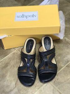 "Softspots Women's Sandals Black Size 7M Open-Back 2"" Heel LEATHER Style Langham"