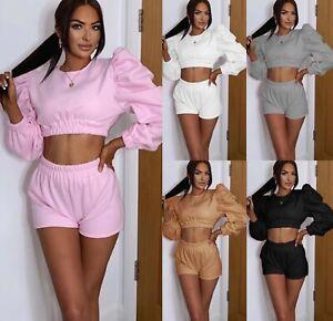 Women's Fleece Puff Sleeve Cropped Top Shorts Two Piece Co-ord Lounge Wear Set