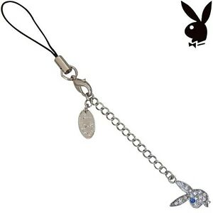 Playboy Cell Phone Charm Bunny Logo Swarovski Crystal Playmate Gift Box RARE NIB