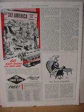 1949 Gray Line Bus Line Golden Gate Statue of Liberty etc Vintage Print Ad 10107