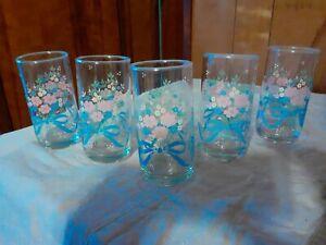 5Vintage Libbey Flower Bouquet Blue Ribbon Juice Glasses 10oz.