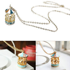 Great Sweet Enamel Carousel Merry Go Round Horse Charm Pendant Sweater Necklace