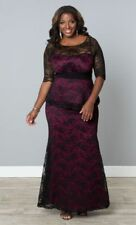 Kiyonna Plus Size Dress size 1X Black Purple Lace Gown Astoria lace Peplum Style