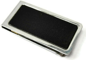 Money Clip Stainless Steel Black Leather Insert Credit Card Cash ID Holder