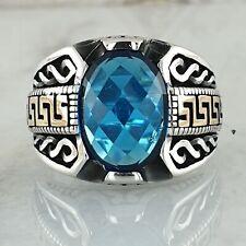 Solide 925 Sterling Silber Blue Aquamarin Edelstein Mens Ring Ottomane