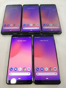 LOT of 5 Google Pixel 3 G013A 64GB GSM Unlocked Android Smartphone Black #A070L