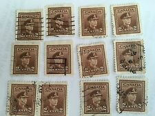 lOT OF 12 USED 1942-1943 Canada - King George VI - Green 2 Cent Stamp (250)