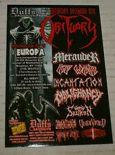 "Obituary Saturday December 8 2007 Xecution Tour 4"" x 7"" Post Card Incantation"