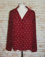 Next shirt size 14 pyjama style long sleeve loose burgundy raccoon animal print