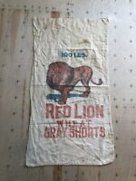 Rare Vintage Antique Feedsack Feed Bag Lion Cotton