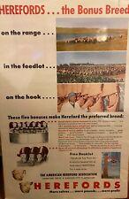 Vintage Poster Herefords Association 1960's 24