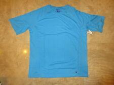 BEACH BROS Men's Short Sleeve Swim T-Shirt Turquoise W/ Grey Stitching Sz. L