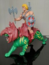 Vintage 80s MOTU He-Man and Battle Cat Figures Complete With Weapons and Armour