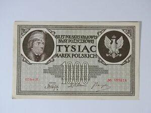 ➤ Banknote 1000 Marek Polskich Mark Tysiac 1919 Poland, III Ser.H. Nr. 498614 ➤