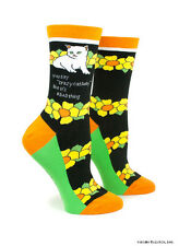 Crazy Cat Lady Crew Socks Anne Taintor Womens One Size Funny Gift