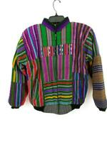 Vtg 90s Guatemalan Bomber Jacket Colorful Hand Woven Fabric Patchwork Zip Medium