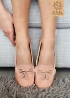 Ladies Leather Smart Loafer Tassel Moccasin Flat Slip On Womens Shoe Size 3-8