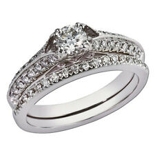 1.80Ct Moissanite Diamond Solitaire Engagement Ring Set Solid 14K White Gold S10