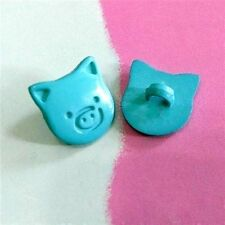 20 Pig Head Children Novelty Sewing Buttons Scrapbooking Craft Turquoise K632