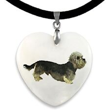 Dandie Dimont Terrier Natural Mother Of Pearl Heart Pendant Necklace Chain PP70