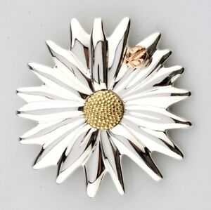 Tiffany & Co Sterling Silver 18k Yellow & Rose Gold Daisy Ladybug Brooch