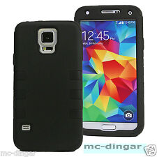 Black PC Shock Poof  Hybrid combo Hard case cover for Samsung Galaxy S5 +Film
