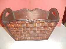 Decorative Wood and Bamboo Basket with Handle
