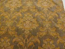 Green & Gold Baroque Italian Made Chenille Heavy Upholstery Fabric.