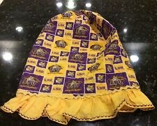 LSU WATER COOLER COVER QUILTED CLOTH RUFFLED BOTTOM w/RICKRACK TRIM PURPLE &GOLD