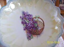 Violet & Basket Design Antique Large Scalloped Iridescent Porcelain Serving Bowl