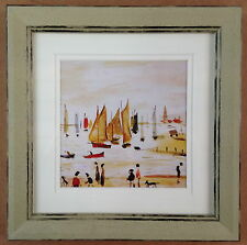 L S LOWRY YACHTS 1959 MINI PRINT DOUBLE MOUNT RUSTIC FRAME BOATS SEASIDE SAIL