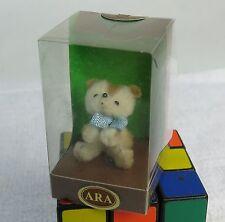 Vintage ARA Wool Hand Made Brown White Cub Bear Blue Bow Figurine MIB Austria
