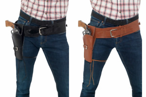 WESTERN COWBOY SINGLE HOLSTER ADULT MENS BROWN BLACK GUNMAN GUN COSTUME BELT