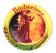 Vintage Budweiser USA Metall Blech Untersetzer Coaster - Lady in rot
