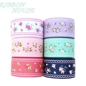(6 colors mix) 1'' (25mm) grosgrain ribbon printed lovely floral series ribbons