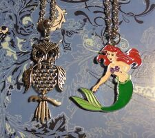 Lot of 2~Mermaid+Owl Charm Pendant Silver Chain Long Necklaces*~
